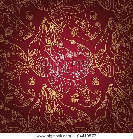 Golden lace ornament on deep red background. Seamless pattern