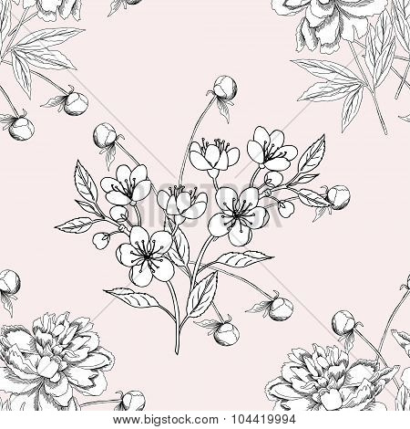 Seamless pattern with peony11-06