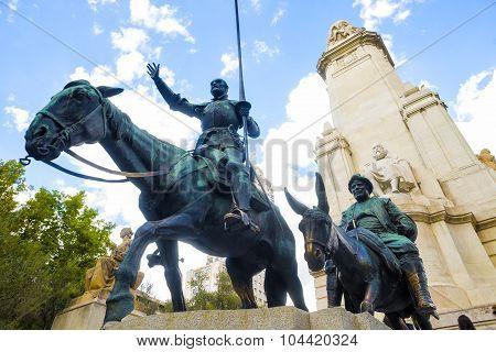Statue Of Don Quixote And Sancho Panza In Madrid.
