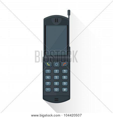 Vector Flat Style Gray Flip Mobile Phone Illustration Icon.