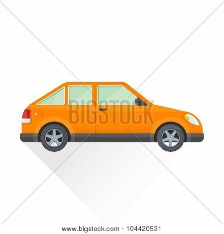Vector Flat Orange Hatchback Car Body Style Illustration Icon.