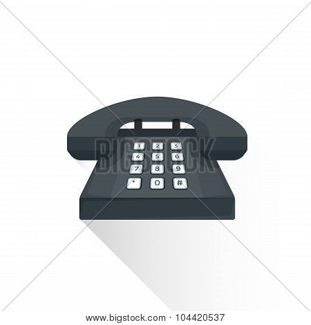 Vector Flat Style Retro Black Landline Buttons Phone Illustration Icon.