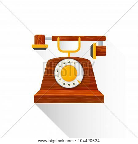 Vector Flat Style Vintage Wooden Dial Phone Illustration Icon.
