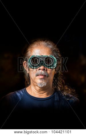 Old Man And Safety Glasses