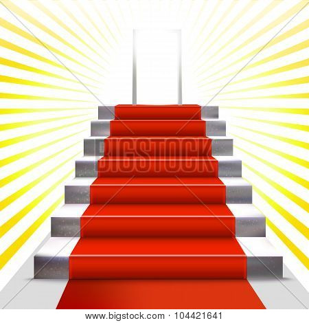 Gold Ceremony Invitation With Ladder And Red Carpet