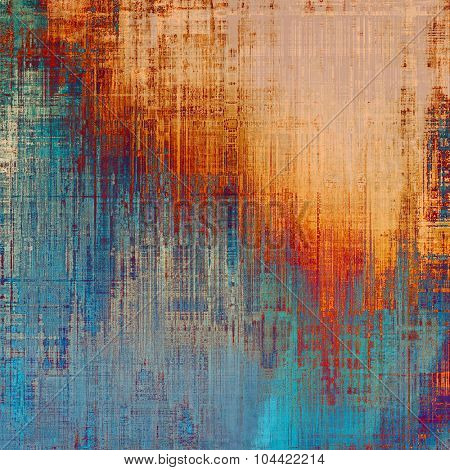 Old-style background, aging texture. With different color patterns: yellow (beige); blue; red (orange); cyan