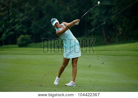 KUALA LUMPUR, MALAYSIA - OCTOBER 09, 2015: Sweden's Anna Nordqvist hits from the 6th hole fairway at the KL Golf & Country Club at the 2015 Sime Darby LPGA Malaysia golf tournament.