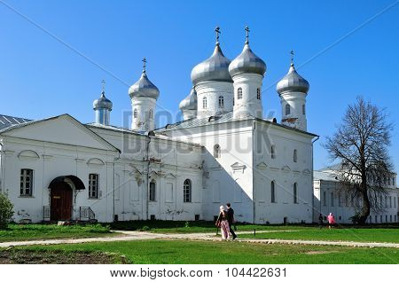 Architectural Ensemble Of Orthodox Yuriev Monastery In Veliky Novgorod, Russia