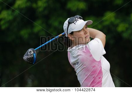 KUALA LUMPUR, MALAYSIA - OCTOBER 10, 2015: Germany's Caroline Masson tees off at the sixth hole of the KL Golf & Country Club on Round 3 day at the 2015 Sime Darby LPGA Malaysia golf tournament.