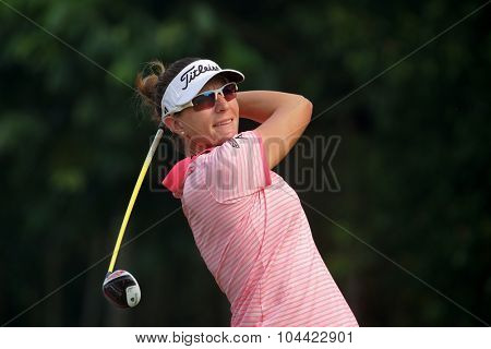 KUALA LUMPUR, MALAYSIA - OCTOBER 10, 2015: USA's Brittany Lang tees off at the sixth hole of the KL Golf & Country Club on Round 3 day at the 2015 Sime Darby LPGA Malaysia golf tournament.