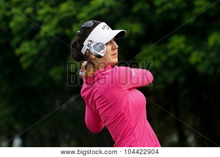 KUALA LUMPUR, MALAYSIA - OCTOBER 10, 2015: Germany's Sandra Gal tees off at the sixth hole of the KL Golf & Country Club on Round 3 day at the 2015 Sime Darby LPGA Malaysia golf tournament.