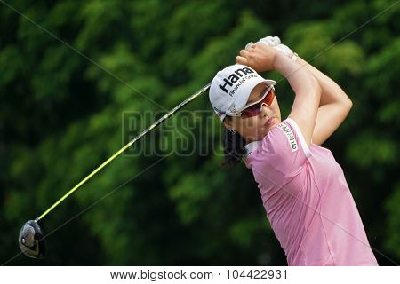 KUALA LUMPUR, MALAYSIA - OCTOBER 10, 2015: South Korea's So Yeon Ryu tees off at the sixth hole of the KL Golf & Country Club on Round 3 day at the 2015 Sime Darby LPGA Malaysia golf tournament.