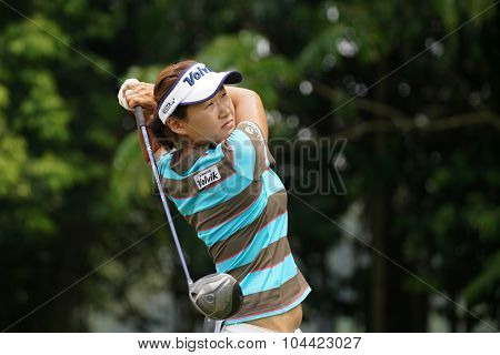 KUALA LUMPUR, MALAYSIA - OCTOBER 10, 2015: South Korea's Ilhee Lee tees off at the sixth hole of the KL Golf & Country Club on Round 3 day at the 2015 Sime Darby LPGA Malaysia golf tournament.