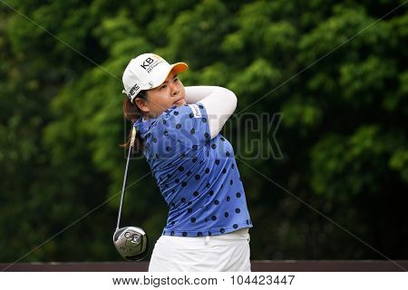 KUALA LUMPUR, MALAYSIA - OCTOBER 10, 2015: South Korea's Inbee Park tees off at the sixth hole of the KL Golf & Country Club on Round 3 day at the 2015 Sime Darby LPGA Malaysia golf tournament.