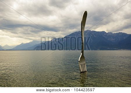 Fork In The Lake In Vevey