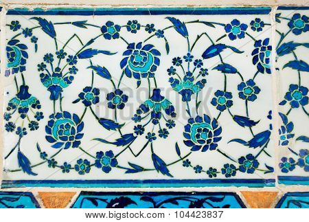 Flowers on tiles of 16th century by turkish craftsmen