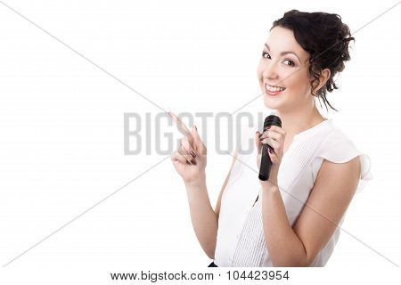 Young Female Speaker With Microphone Advertising On White Background