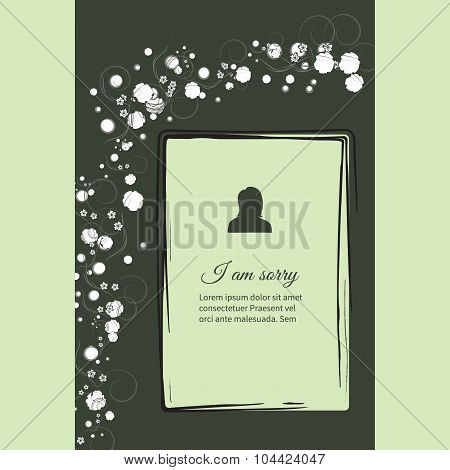I Am Sorry Vector Lettering In Abstract Style, Place For Text And Photo