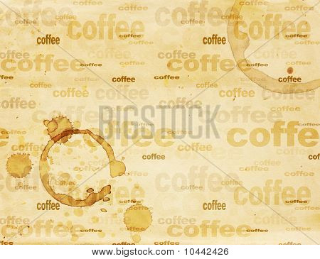 Paper Texture With Drops Of Coffee