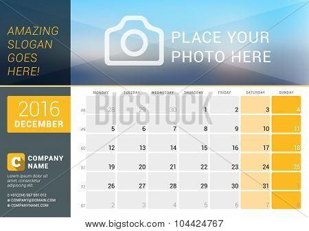 December 2016. Desk Calendar For 2016 Year. Vector Design Print Template With Place For Photo, Logo