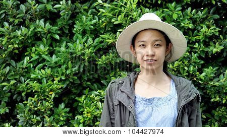 Asian Girl Green Wall Background