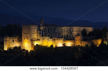 Nightfall In La Alhambra, Granada, Andalucia, Spain
