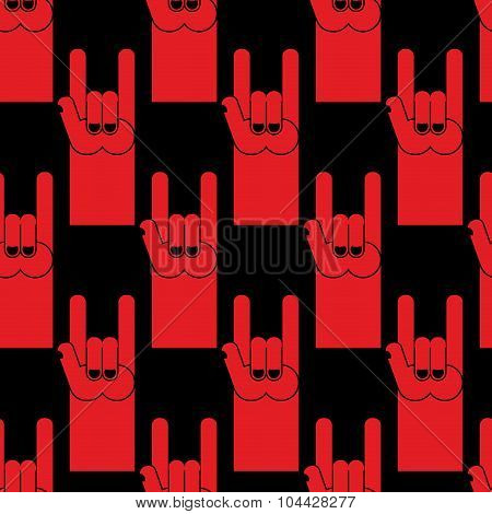 Rock Hand Sign Red Seamless Pattern. Background Of  Symbol Of Rock And Roll.
