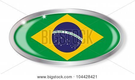 Brazil Flag Oval Button