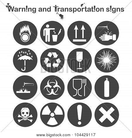 Warning And Transportation Icons Set