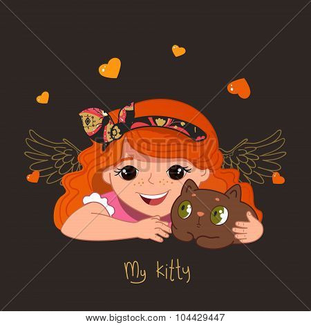 Cute redhead girl and her kitty. Vector illustration