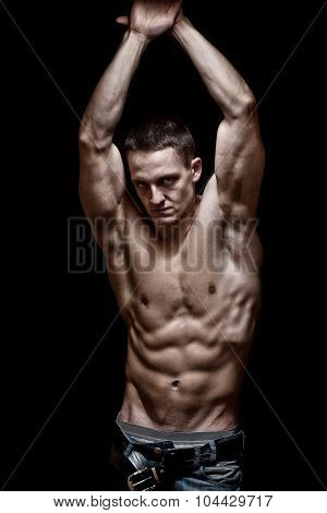Young men, bodybulder posing