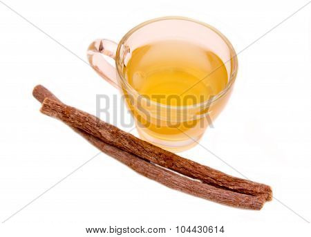 Herbal tea licorice top view