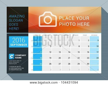 September 2016. Vector Design Print Calendar Template For 2016 Year. Place For Photo, Logo And Conta
