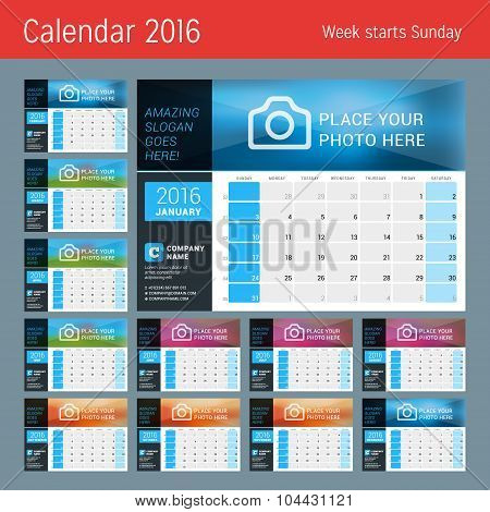 Vector Design Print Calendar Template For 2016 Year. Place For Photo, Logo And Contact Information.