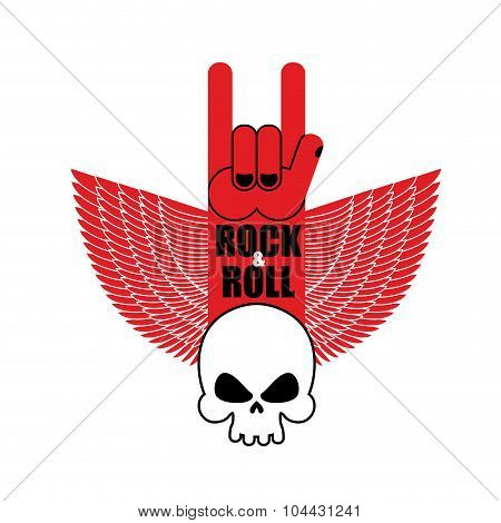 Rock And Roll Hand Sign And Wings With  Skull. Symbol For Lovers Of Rock Music. Logo For Rock Band.