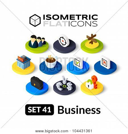 Isometric flat icons set 41