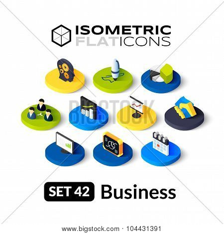 Isometric flat icons set 42