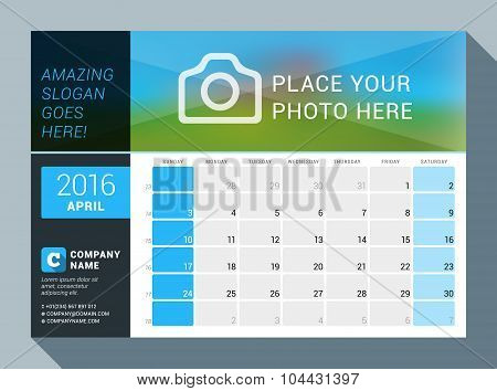 April 2016. Vector Design Print Calendar Template For 2016 Year. Place For Photo, Logo And Contact I