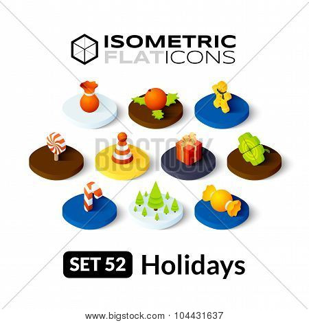 Isometric flat icons set 52