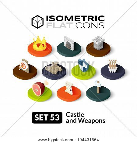 Isometric flat icons set 53