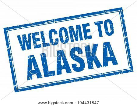 Alaska Blue Square Grunge Welcome Isolated Stamp