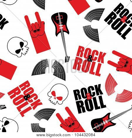 Rock Music Seamless Pattern.  Guitar And Skull. Wings And Rock Hand Sign. Rock And Roll Background.