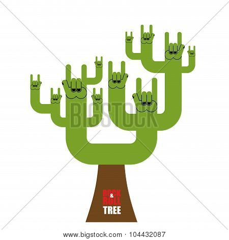 Rock And Roll Tree. Fantastic Tree From Rock Hand Sign. Plant For Lovers Of Rock Music.