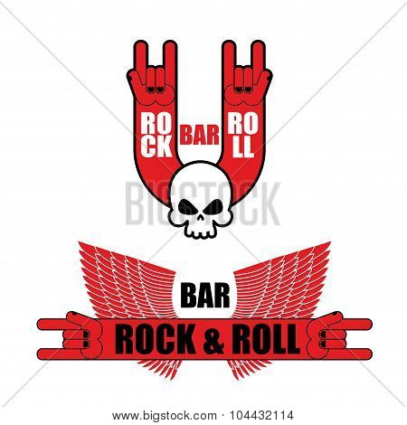 Set Of Logo For Rock And Roll Bar. Hand Rock Sign And Wings. Template Logo For Pub Lovers Of Rock M