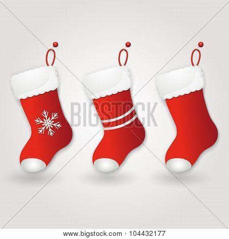 Set of Red Santa's boot. Christmas background. Vector