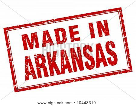 Arkansas Red Square Grunge Made In Stamp