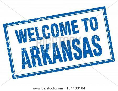 Arkansas Blue Square Grunge Welcome Isolated Stamp