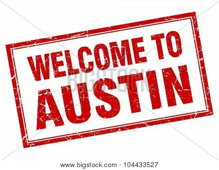 Austin Red Square Grunge Welcome Isolated Stamp