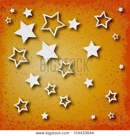 Stars On Vintage Grunge Background