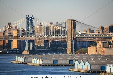 Manhattan Bridge And Brooklyn Bridge In New York